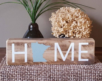 """State Sign, HOME, Custom State of your Choice - 12"""" block, Rustic Sign, Farmhouse Decor, Wood, Hand painted, state pride, home sweet home"""