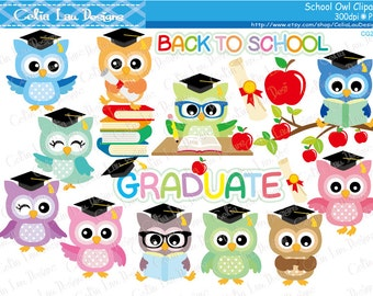 School Owls clipart , Graduation Owls , Back to School Owls clip art set