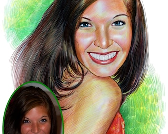 Personalised Pencil Sketch Hand Drawn from your Photos - Colour