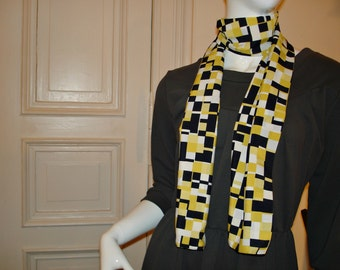 Shawl scarf from 80s fabric geometric pattern black white scarf 80s fabric geometry pattern black yellow white