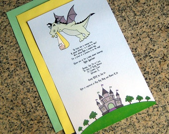 fairy tale dragon stork baby for either girl or boy baby shower full sized fully custom invitations with envelopes - set of 10