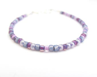 Spring Purple Beaded Bracelet Mixed Lilac Lavender Friendship Dainty Affordable Gift Summer Jewelry Hawaiian Hawaii Minimal Easter