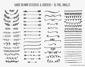 50% OFF SALE Hand Drawn Clip Art - Dividers, Borders, Laurels, Arrows, Doodle, clipart - Commercial Use