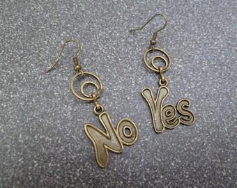 "Dangle earrings ""Yes or No"""