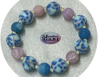 Small Wrist Blue, Lilac, Pale Yellow Beaded Stretch Bracelet