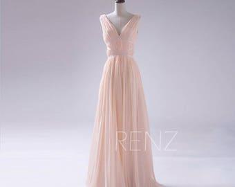 Bridesmaid Dress Peach Wedding Dress,Backless Long Party Dress, Deep V Neck Formal Dress, Elegant Dress Floor Length (F122)