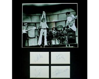 THE WHO AUTOGRAPH photo display Roger Daltrey Pete Townshend Keith Moon John Entwistle