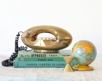 Metallic Gold Genie Telephone - 70's Rotary Style Push Button Phone - Tested