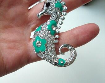 Seahorse rhinestones pendant necklace vintage