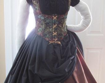 DDNJ U Design 4pc Reversible Corset Style Bodice Chemise Skirt Plus Custom Made Any Size Renaissance Anime Steampunk Cosplay Pirate Costume