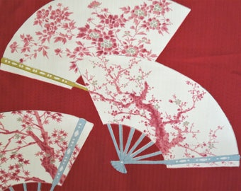 "FABRIC Japanese Silk Fabric Gorgeousl Vintage Kimono Silk Red Cream Fans Sakura Plum Tree Cherry Blossom Kimono Silk Fabric- 13.5"" W X 46"" L"