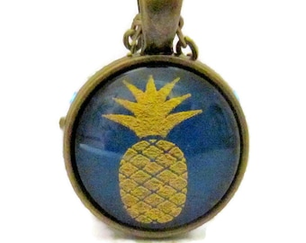 Pineapple Necklace, Pineapple Pendant with Chain, Gold and Blue, Bronzed, Fruit, Art Pendant