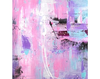 Original Art on paper, Pink Acrylic art painting, contemporary artworks by Heroux, 11x14 inch