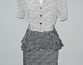 Vintage black & white PEPLUM SECRETARY dress - XS/S