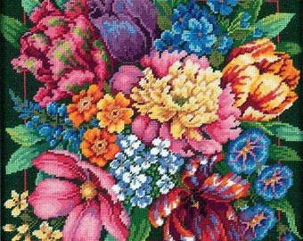"""Dimensions """"Floral Splendor"""" 14"""" Needlepoint Wall Art or Pillow"""