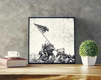 Iwo Jima Vintage Mosaic Poster