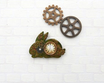 Steampunk clock on bunny shaped base in 1:12 scale