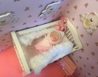 One of a kind dollhouse doll,polymer clay babyrealistic,