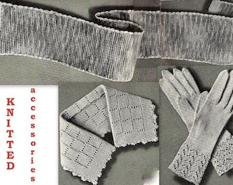 Lady's Gloves, Collar, Scarf (3) Knitting Pattern 726031