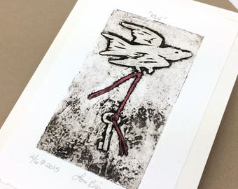 SALE - Key - Bird - Key - Flying - Night - Linocut Printmaking - Block Print - Wall Art - Black and White - 5x7