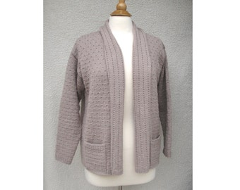 Women's Cardigan Sweater, Hand Knit, American Wool, Cozy Sweater, Open Front, Small Medium, Pockets, Drape Collar, Tan Taupe Brown