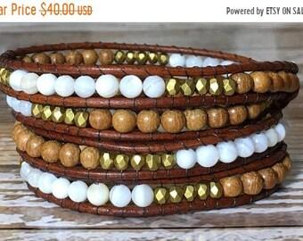 SALE Chan Luu Style Wrap Bracelet / Healing Crystal Bracelet / Raw Crystal Bracelet / Chakra bracelet / Leather Wrap Bracelet