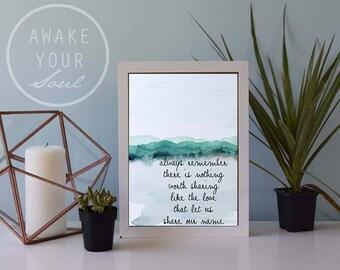 Family Name, Love qoute Art Print, Watercolor Mountains, framed art