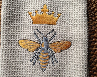 Queen Bee with Crown - Microfiber Waffle Weave Kitchen Hand Towel
