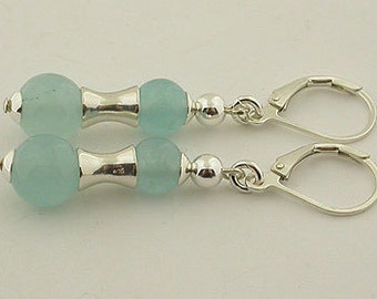 Aquamarine Jade Lever Back Sterling Silver Earrings 05