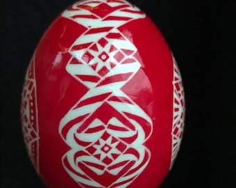 Candy Cane Sweet!  Red and white hanging pysanka ornament in batik style