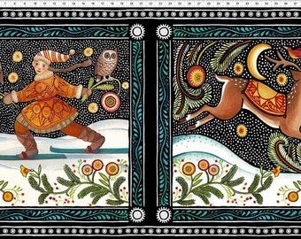 Julie Paschkis Four Seasons Winter Fabric Panel