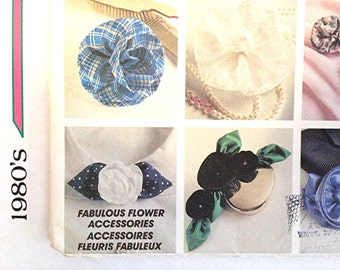 1980s Flower Accessories Hair Clips Roses Wedding Brooch Crafts Cockade Ribbon Factory-fold like new