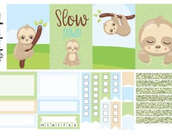 Sloth life, mini sticker kit, one sheet kit, weekly kit, planner stickers, weekly sticker kit, erin condren, happy planner, planner kit