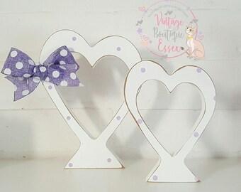 Handmade Shabby chic heart duos,