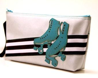 "roller skate clutch w/ wrist strap - ""roller derby disco queen"" : turquoise skates on black & white stripes"