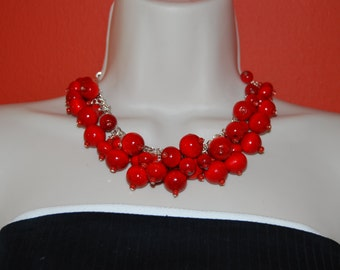 Statement Necklace Chunky Red Beaded Necklace Wood Necklace and Earrings Set  Bold