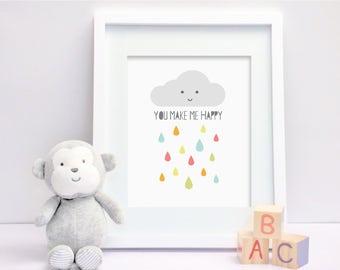 Happy Cloud - Nursery Print - Children's Wall Art - Baby Nursery Decor