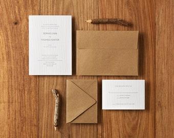 Modern Woodgrain - Custom Letterpress Wedding Invitations Stationery Suite, Deposit Only