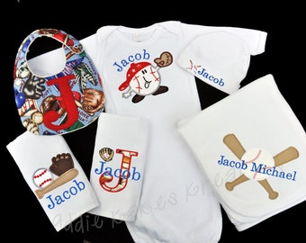 Personalized Baseball Themed Baby Gift Set / Gown, Cap, Blanket, 2 Burpcloths and Bib