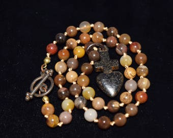 Rockstar Cowgirl Talisman and Golden Horse Jasper Silk Knotted Necklace