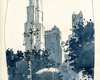 Urban sketch from Park Row New York, USA, Original artwork, Watercolor