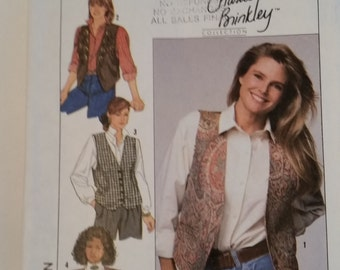 Vintage Simplicity 9373 Christie Brinkley Collection sewing pattern misses' lined vests with trim variations in size 6, 8, 10, 12
