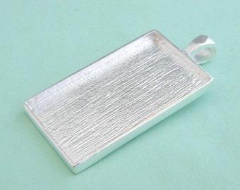 20pcs 19X31mm silvery white Pewter blank Pendant charm bezel Tray rectangle