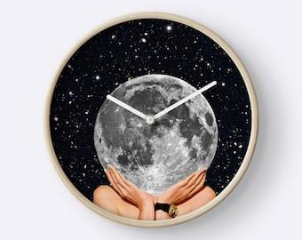 Full Moon Wall Clock - Unique wall clock - moon wall clock - lunar clock