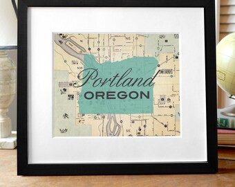 Portland Oregon Art, Portland Map, Oregon Art Print, Oregon Print, Portland Art, State Print