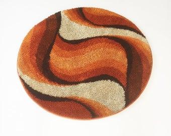 Vintage des années 70 moderniste DESSO tapis rya | rond au milieu du siècle moderne eames ère des années 70 op art shag loft retro mod tapis | Design pop de laine DESSO