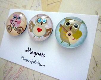 Round Glass Magnet set - Cute Owls