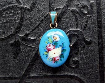 Antique Victorian Baby Locket. Letter and Roses. Enameled Sterling.