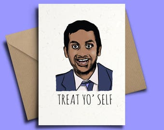 Tom Haverford Personalised Birthday Card - Parks and Rec Recreation, Ron Swanson V3