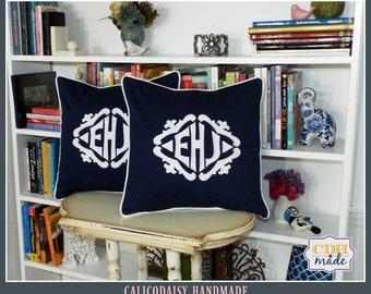 SET OF 2 - The Lisette Applique Framed Monogrammed Pillow Cover - 18 x 18 square